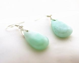 Boucles d'oreilles  goutte jade
