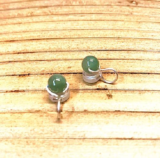 Boucles d'oreilles en jade vert gris clips