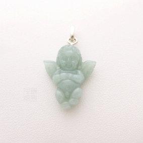 Pendentif ange en jade vert d'eau