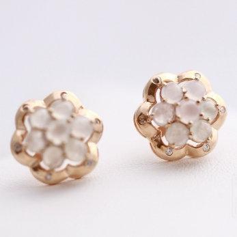 Boucles d'oreilles jad et or