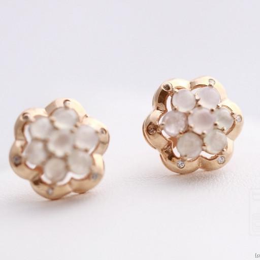Boucles d'oreilles jade et or