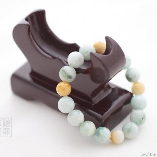 Bracelet boule en jade panaché