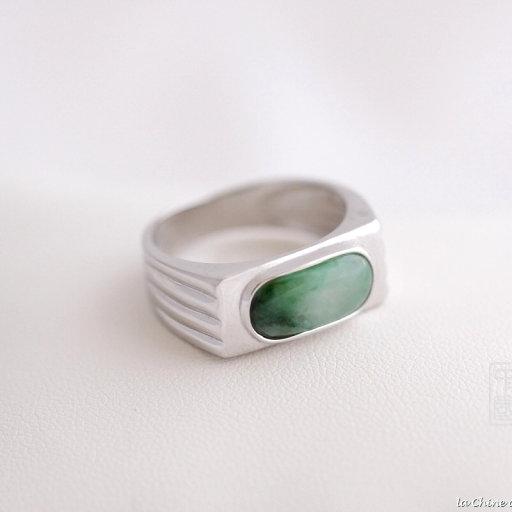 Bague chevalière jade et argent