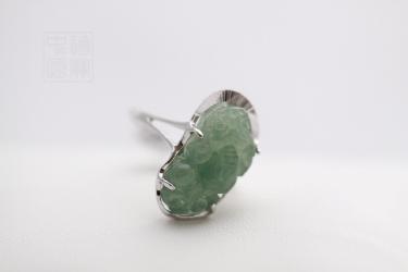 Bague  Pixiu en argent et jade
