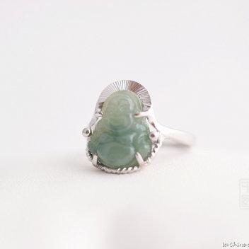 Bague Bouddha bénie jade et argent 1