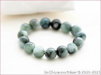 Bracelet boule en jade vert foncé