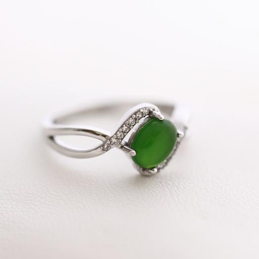 Bague jade et argent