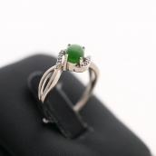 Bague jade vert et argent