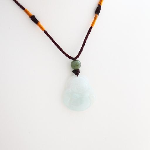 Pendentif Bouddha en jade blanc cordon